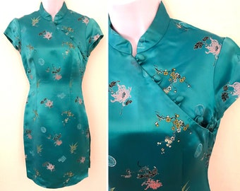 Asian Girl / Vintage 80s Aqua Blue Asian Cheongsam Dress by BCBG Chinese Floral Embroidery / Womens Size Small S Mandarin Collar