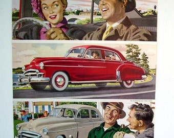 1950 Chevrolet Car Magazine Page Advertisment,The Styleline De Luxe 4-Door Sedan, Man Cave Wall Art, Vintage Auto Chevrolet