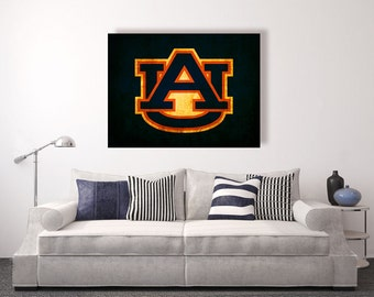 Auburn University Auburn Tigers vintage style Canvas Print vintage football decor college football logos auburn war eagle & Auburn wall decor | Etsy