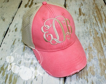 Monogrammed Trucker Hat, Distressed Coral Trucker Hat- NEW COLOR- Personalized Ball Cap, Mesh Trucker Hat