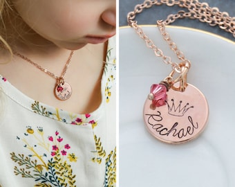 Rose Gold Princess Jewelry • Rose Gold Gift Toddler Jewelry • Pink Party Princess Gift Girls Party Favor • Cute Necklace Little