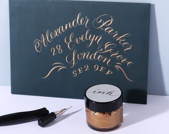 Copper Calligraphy Ink / Modern Calligraphy Ink/ Dip Pen Ink/ Copperplate Ink/ Pointed Pen Ink/ Shimmer Ink/ Modern Calligraphy Supplies