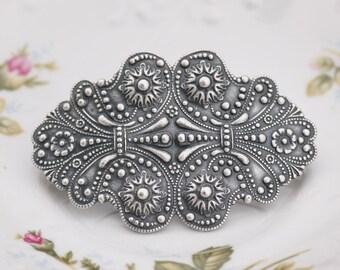 Art Nouveau Victorian Large Silver Hair Barrette,Antique Silver Large Floral Filigree Barrette,Silver Hair Clip,French Barrette,Silver Ox