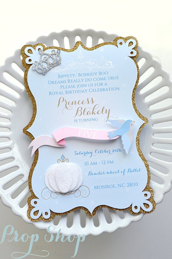 Girls Cinderella Birthday Invitations