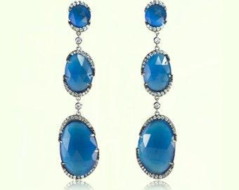 Long Hollywood style Blue Symphony Earrings