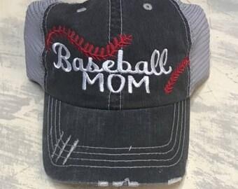 Baseball Mom Stitches Hat JJ Roads Distressed Trucker Cap Mesh Back Black