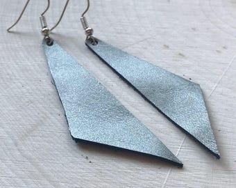 Perfect Angle Leather Earrings {Gun Metal}