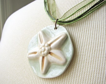Sea Green Starfish Necklace Handmade Clay Beads