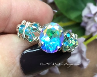 Opalescent Mystic Topaz, Wire Wrapped Ring, Rainbow Mercury Mystic Topaz Ring, Fine Jewelry, Stunningly Unique Engagement Ring, Unique Gift