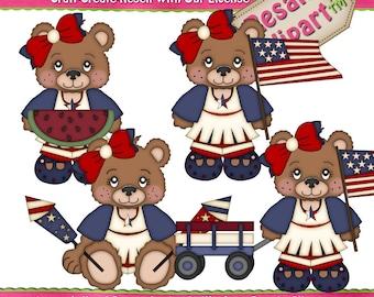 Patriotic LiL Bear Girls 1 Clipart (Digital Download)