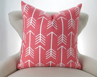 Coral Throw Pillow Cover, Arrow Pattern -MANY SIZES- Euro Sham, Cushion Cover, Coral White Decor, Custom Premier Prints, FREESHIP