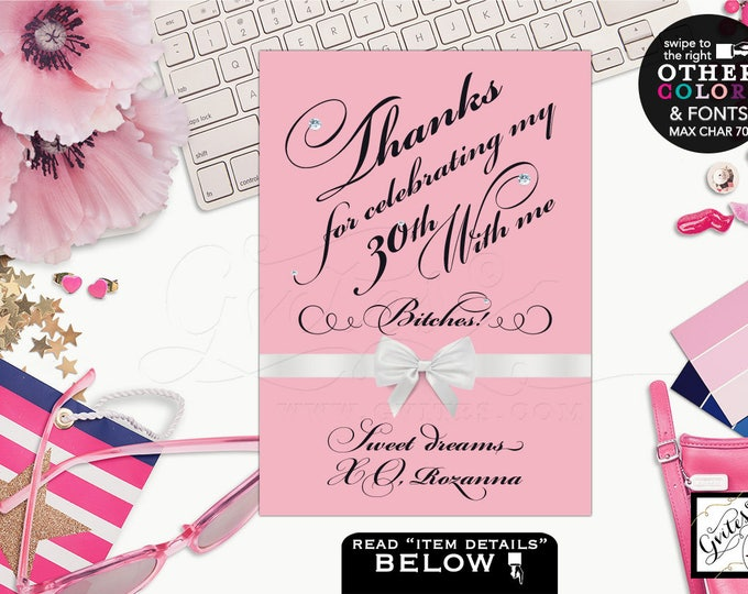 Thank you Birthday Sign, blush pink table cards decor, at birthday thank you signs, table decorations, desserts sign. Avail: 4x6, 5x7 & 8x10