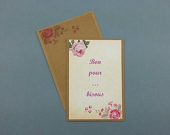 Card good for kisses/mother of the day/party/birthday/recovery/love/envelope attached/made hand/stylish/elegant/shabby