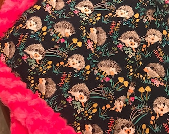 New Navy Hedgehogs on Fuschia Rose Luxe Cuddle Minky Baby Blanket 1-1/4 yards