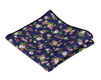 "Navy Floral Pocket Square.Navy Handkerchief.Wedding Handkerchief.10""x10"""