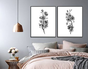 Cherry blossom print watercolor flower art print, flower painting, aminimalist decor, black white flower wall art, set of 2 prints - N83/4