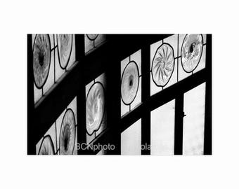 Stained glass Photo, Black and White Prints, Gift for Dad, Art Nouveau print, Barcelona Prints, Catalan modernisme