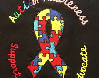 Free Personalizing Machine Embroidered Autism Awareness tote