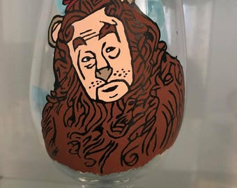 Lion Hand Painted Glass