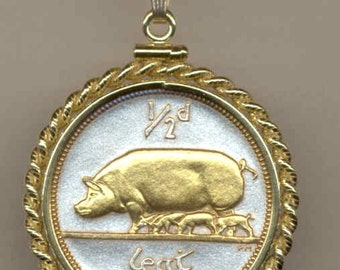 Necklace - Gorgeous 2-Toned Gold on Silver Irish Pig & piglets, Coin - Necklaces