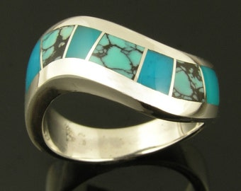 Sterling silver ring with spiderweb turquoise and gem silica inlay by Hileman