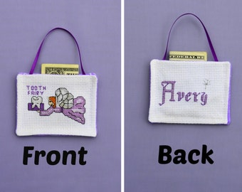 Tooth Fairy Pocket Pillow Pouch Personalized Purple or ANY Color