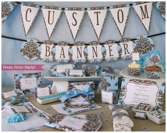 Blue And Brown Baby Shower Decorations Printable Set Boy Baby