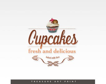 Premade Logo, Cupcake Logo, Logo Design, Watercolors logo, Desinger Logo , Food Watercolor Cake logo, Watermark Logo, Bakery Logo, Food logo
