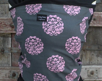 ORGANIC COTTON Baby Wrap Sling Carrier-Gray With Pink Blooms on Black -Newborn through Toddler- DvD Included