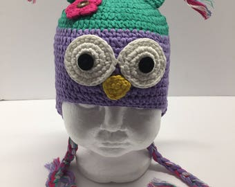 Teal and purple owl crochet hat, teal owl hat, purple owl crochet hat with ear flaps