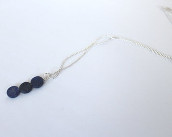 Lapis coin necklace on silver plated chain