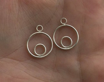 New Moon Mod Ear Jacket Pair - Sterling Silver - Earring Jackets Only - Front & Back Earrings - Minimalist - Mix and Match With Any Studs