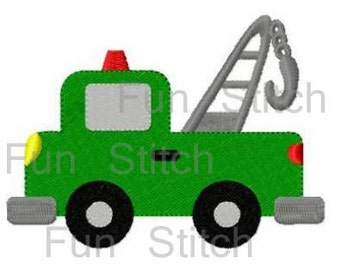 Tow truck machine embroidery design transportation