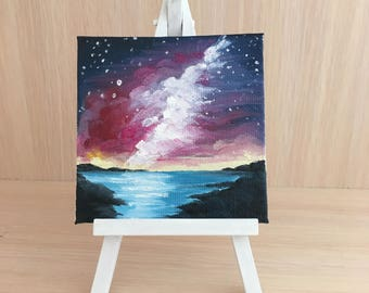 milky way, small canvas painting, oil painting, gift, decor