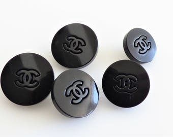 Chanel Black CC Button 16mm 18mm 20mm Stamped / Price is for one button
