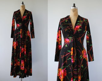 1970s vintage maxi dress / 70s neon floral maxi dress / 70s black poly dress / long sleeve maxi dress / groovy maxi dress / op art / small