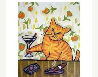 25% off cat art - Cat Having a Martini Art Print   JSCHMETZ modern abstract folk pop art AMERICAN ART gift, cat gifts, gift
