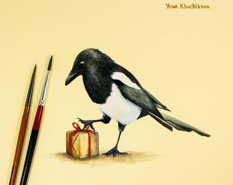 Magpie Bird Original Watercolor Painting by Yana Khachikyan