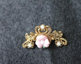 Ceramic Pink Rose Brooch Pin