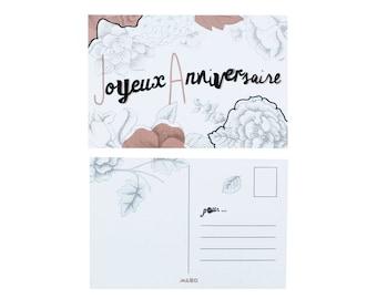 "Pink Happy Birthday Postcard - ""Joyeux Anniversaire"""