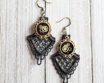 Steampunk Dangle Earrings, Clockwork Jewelry, Geometric Earrings, Black Lace Earrings, Mixed Metal Earrings, Upcycled Earrings, Watch Parts