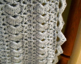 Baby Blue Handcrafted Crocheted vintage baby blanket  afghan warm and cuddly