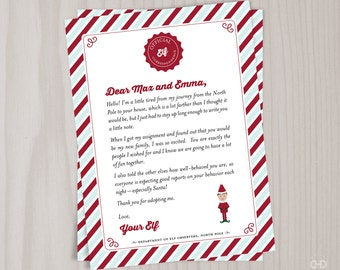 Personalized Elf Welcome Letter, Christmas Introduction Note, Intro Letter, Printable