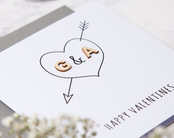 Couple Initial Love Heart Card | Wedding Card | Anniversary Card | Engagement Card | Husband Initial Card | Wife Initial Card