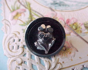 Charming Victorian Era Button with Raised Silver Posy