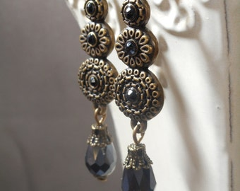 Victorian Earrings - Victorian Jewelry - Mourning Jewelry - Reign Jewelry - Gothic Earrings - Mourning Jewelry - Womens Jewelry