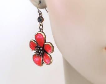 Vintage Inspired Earrings - Red Earrings - Flower Earrings - Antiqued Gold Earrings -Chloes Vintage Jewelry - handmade jewelry