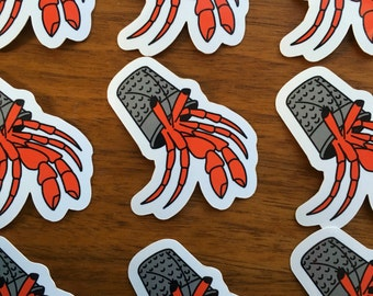Hermit Crab Thimble Vinyl Sticker 2""