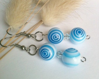 Double Blue and White Earrings Spiral Swirl With Swarovski Crystals Handmade