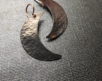 Crescent Moon Earrings - Oxidized Copper